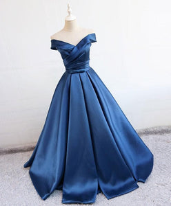 Simple Blue Satin Long Prom Dress, Blue Formal Dress - DelaFur Wholesale