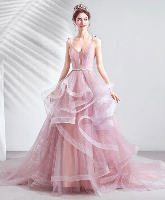 Pink V Neck Tulle Long Prom Dress Pink Tulle Evening Dress - DelaFur Wholesale