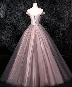 Dark Pink Tulle Lace Long Prom Dress Tulle Lace Evening Dress - DelaFur Wholesale