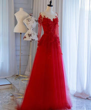 Load image into Gallery viewer, Red Tulle Lace Off Shoulder Long Prom Dress Red Lace Evening Dress - DelaFur Wholesale