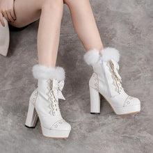 Load image into Gallery viewer, Rabbit Fur Lolita Kawaii Bow Boots SP14452