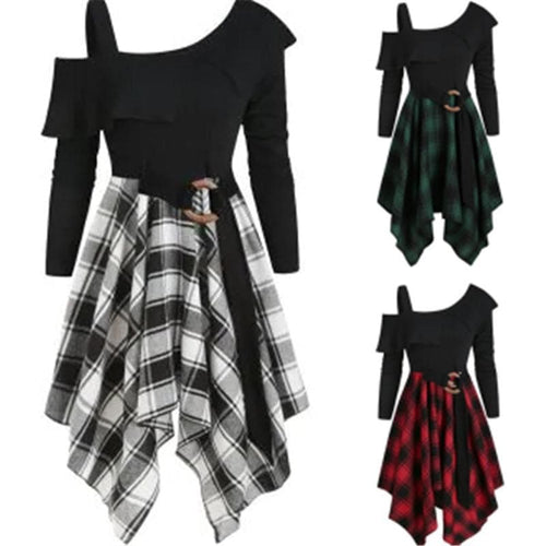 Plaid Skew Neck Belted Handkerchief Dress SP14428