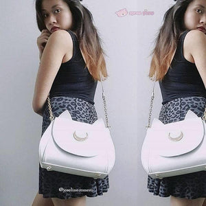 Big Metal Moon-White/Black Sailor Moon Luna/Artemis Shoulder Bag High Quality Version SP152787 - SpreePicky  - 2