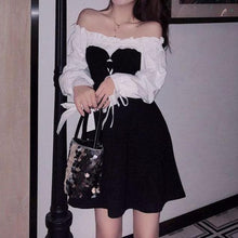 Load image into Gallery viewer, Black Chic Bow Bubble Sleeve Dress SP14837