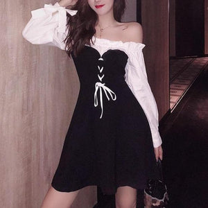 Black Chic Bow Bubble Sleeve Dress SP14837