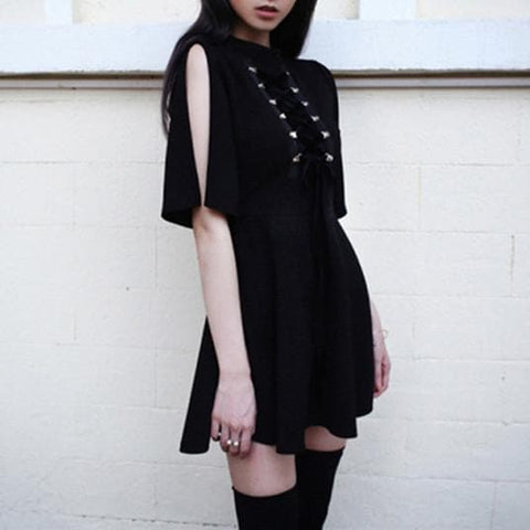 Black Punk Cross Straps Tie Slim A Line Dress