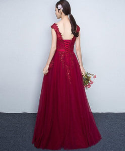 Burgundy Sweetheart Tulle Lace Long Prom Dress, Bridesmaid Dress - DelaFur Wholesale