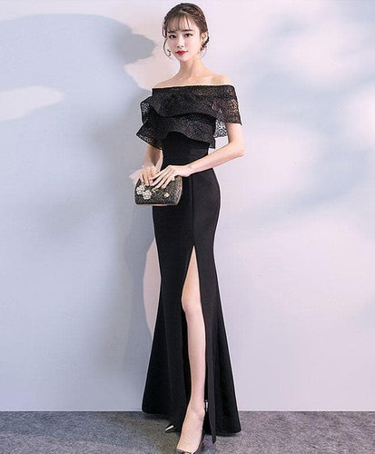 Black Lace Mermaid Long Prom Dress, Black Evening Dress - DelaFur Wholesale