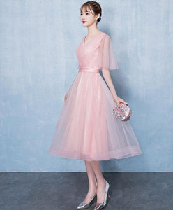 Simple V Neck Tulle Short Prom Dress, Pink Tulle Homecoming Dress - DelaFur Wholesale