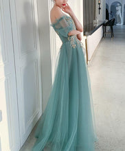 Load image into Gallery viewer, Green Tulle Lace Long Prom Dress Green Tulle Formal Dress - DelaFur Wholesale