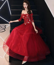 Load image into Gallery viewer, Burgundy Sweetheart Tulle Lace Prom Dress, Lace Evening Dress - Harajuku Kawaii Fashion Anime Clothes Fashion Store - SpreePicky
