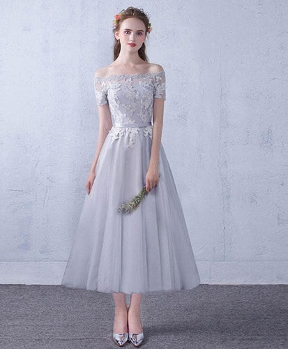 Gray Tulle Lace Tea Length Prom Dress, Gray Bridesmaid Dress - DelaFur Wholesale