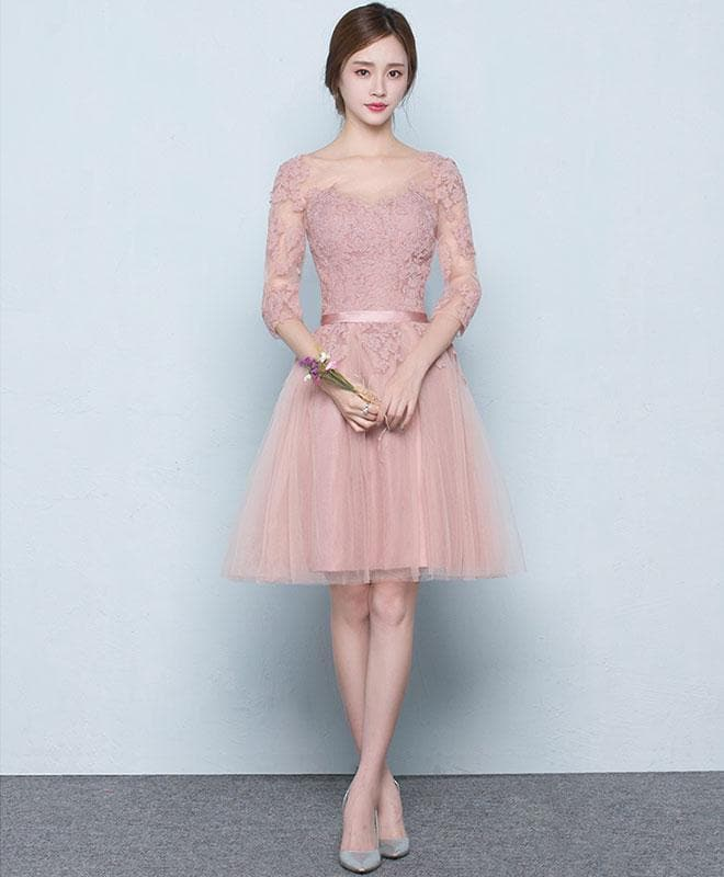 Pink Tulle Lace Short Prom Dress, Pink Tulle Bridesmaid Dress - DelaFur Wholesale