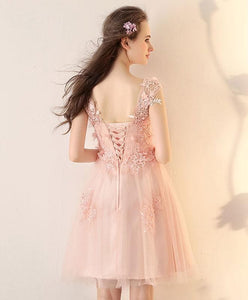 Pink Round Neck Tulle Lace Short Prom Dress, Pink Homecoming Dress - DelaFur Wholesale