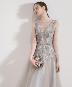 Gray Tulle Lace Long Prom Dress, Gray Tulle Evening Dress - DelaFur Wholesale