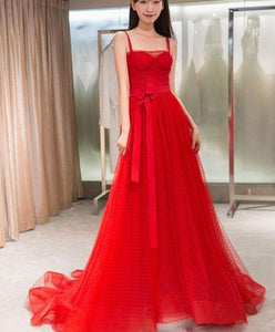 Red Tulle Long Prom Dress, Red Tulle Evening Dress - DelaFur Wholesale