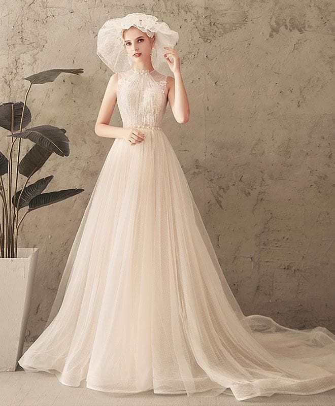 Unique Tulle Lace Long Prom Dress, Tulle Lace Wedding Dress - DelaFur Wholesale