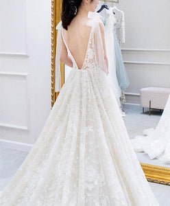 White V Neck Lace Long Prom Dress, White Lace Wedding Dress - DelaFur Wholesale
