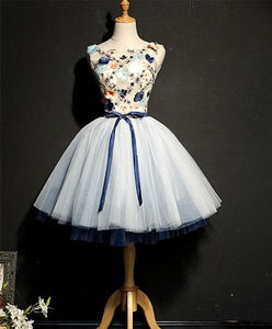 Cute Round Neck Tulle Short Prom Dress, Tulle Homecoming Dress - DelaFur Wholesale