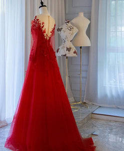Red Tulle Lace Off Shoulder Long Prom Dress Red Lace Evening Dress - DelaFur Wholesale