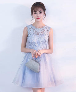 Gray Tulle Lace Short Prom Dress, Gray Homecoming Dress - DelaFur Wholesale