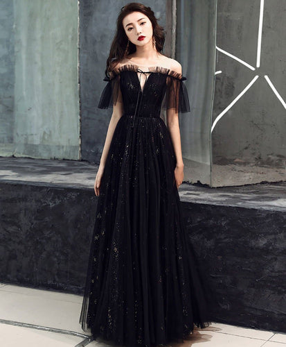 Black Tulle Off shoulder Long Prom Dress Black Formal Dress A030 - DelaFur Wholesale