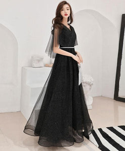 Black Tulle Long Prom Dress, Black Tulle Evening Dress - DelaFur Wholesale