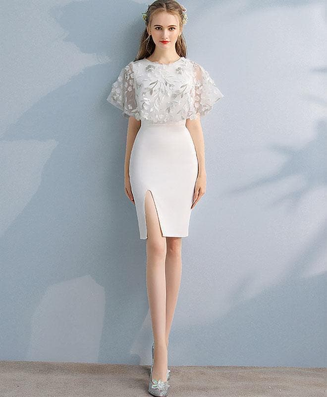 Simple White Lace Mermaid Short Prom Dress, White Evening Dress - DelaFur Wholesale