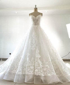 White Sweetheart Neck Tulle Lace Long Wedding Dress Lace Bridal Dress - DelaFur Wholesale