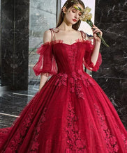 Load image into Gallery viewer, Burgundy sweetheart tulle lace long evening dress, formal dress SP16035 - Harajuku Kawaii Fashion Anime Clothes Fashion Store - SpreePicky