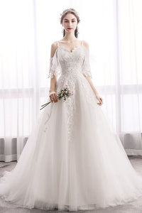 White Sweetheart Lace Tulle Long Wedding Dress, Lace Bridal Dress - DelaFur Wholesale