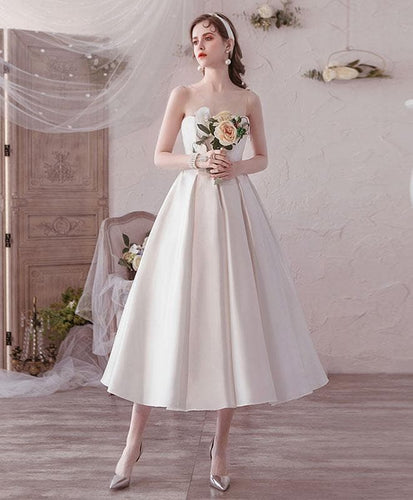 Simple Round Neck Tea Length Prom Dress White Bridesmaid Dress - DelaFur Wholesale