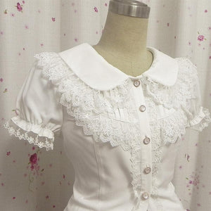Final Stock! Lace Short Sleeve Chiffon Blouse Top SP141085