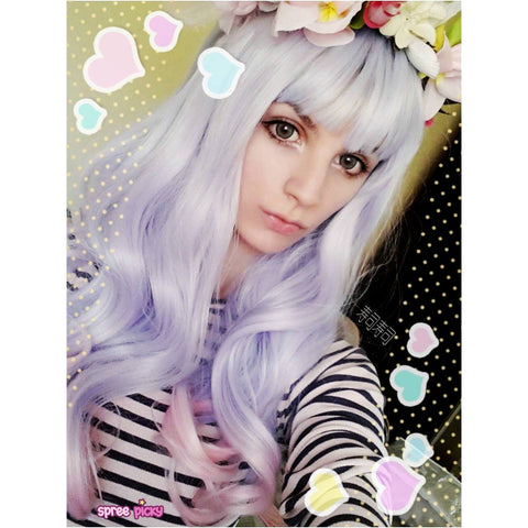 Lolita Pink Mix Blue Long Curly Hair Wig SP166828