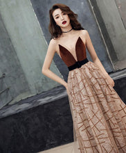 Load image into Gallery viewer, Champagne V Neck Tulle Long Prom Dress Tulle Evening Dress - DelaFur Wholesale