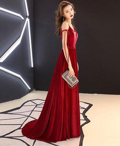Simple Burgundy Long Prom Dress, Burgundy Evening Dresses - DelaFur Wholesale
