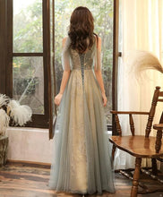 Load image into Gallery viewer, Green Tulle Hight Neck Tulle Lace Long Prom Dress Tulle Formal Dress - DelaFur Wholesale