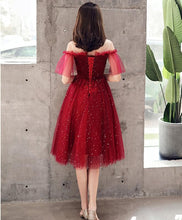 Load image into Gallery viewer, Burgundy Tulle Sequin Short Prom Dress, Burgundy Homecoming Dress - Harajuku Kawaii Fashion Anime Clothes Fashion Store - SpreePicky