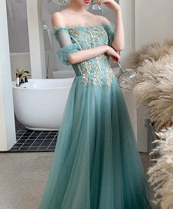 Green Tulle Lace Long Prom Dress Green Tulle Formal Dress - DelaFur Wholesale