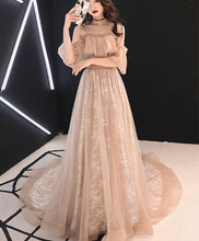 Load image into Gallery viewer, Champagne Tulle Lace Long Prom Dress Champagne Tulle Lace Formal Dress - Harajuku Kawaii Fashion Anime Clothes Fashion Store - SpreePicky
