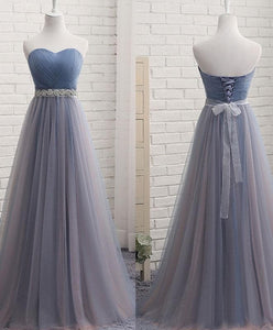 Simple Gray Blue Tulle Prom Dress, Bridesmaid Dress - DelaFur Wholesale