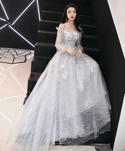 Load image into Gallery viewer, Gray Tulle Lace Long Prom Dress, Gray Tulle Evening Dress - DelaFur Wholesale