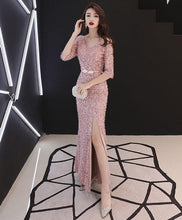 Load image into Gallery viewer, Pink Mermaid Long Prom Dress, Pink Evening Dress - DelaFur Wholesale