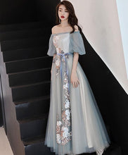 Load image into Gallery viewer, Gray Blue Tulle Lace Long Prom Dress, Gray Blue Evening Dress - DelaFur Wholesale
