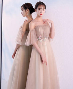 Champagne Round Neck Tulle Long Prom Dress, Champagne Tulle Evening Dress - Harajuku Kawaii Fashion Anime Clothes Fashion Store - SpreePicky