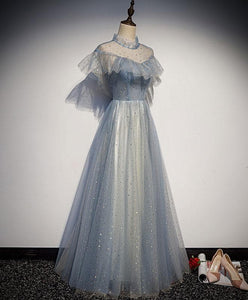 Light Blue Tulle Lace Long Prom Dress, Tulle Evening Dress A015 - DelaFur Wholesale