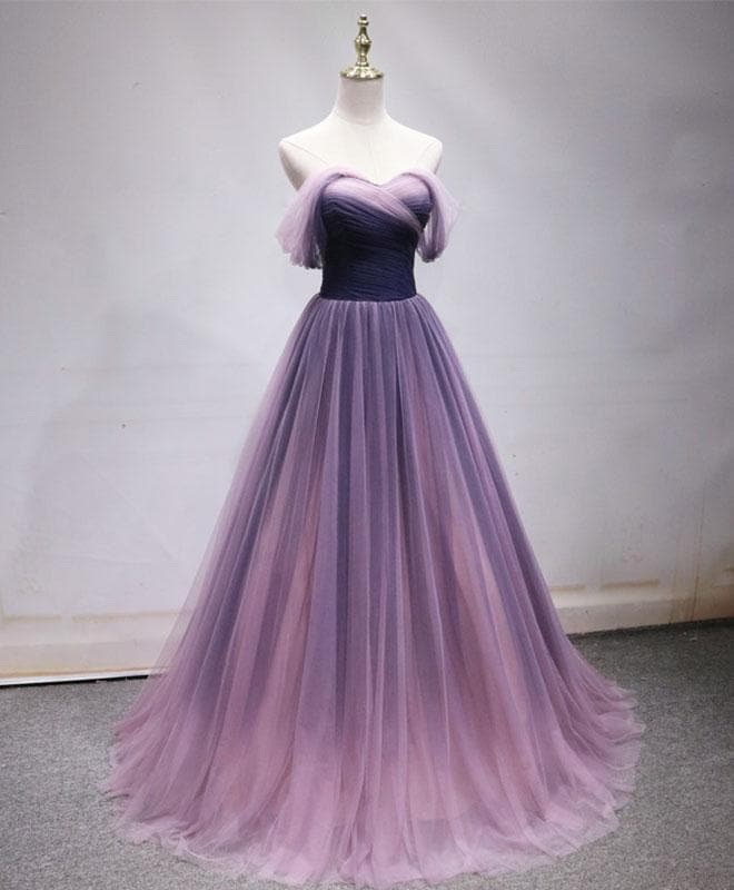 Simple Sweetheart Tulle Purple Long Prom Dress, Bridesmaid Dress - DelaFur Wholesale