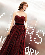 Load image into Gallery viewer, Burgundy Sweetheart Long Prom Dress, Burgundy Evening Dress - DelaFur Wholesale
