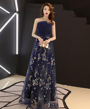 Load image into Gallery viewer, Dark Blue Tulle Lace Long Prom Dress, Blue Evening Dress - Harajuku Kawaii Fashion Anime Clothes Fashion Store - SpreePicky
