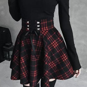 Plus Size Black-Red Gothic High Waist Laced Plaid Skirt SP14143